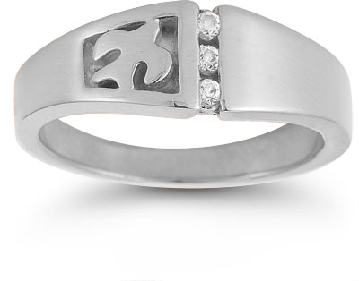 Christian Dove Diamond Trinity Ring in 14K White Gold