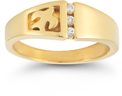 Christian Dove CZ Trinity Ring in 14K Yellow Gold