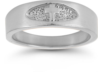 Men's Christian Cross Ring in 14K White Gold