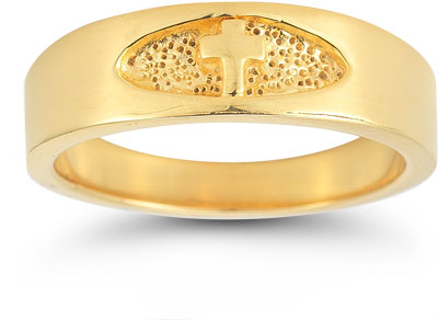 Men's Christian Cross Ring in 14K Yellow Gold
