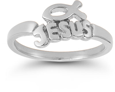 Jesus Ichthus Ring in 14K White Gold