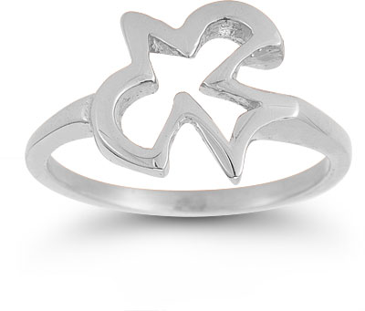 Christian Dove Ring in 14K White Gold