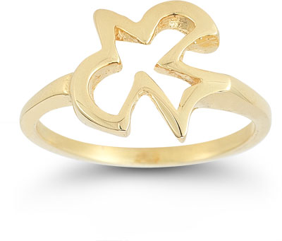 Christian Dove Ring in 14K Yellow Gold