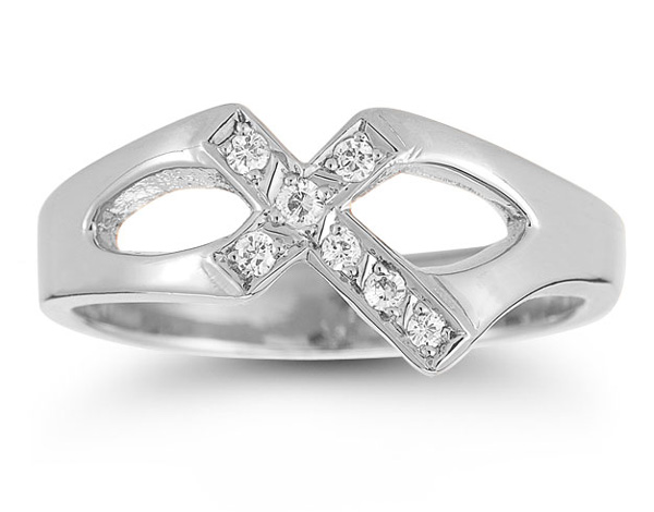 Christian Cross Diamond Ring in 14K White Gold