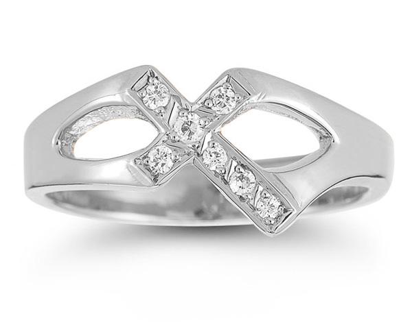 Christian Cross Sterling Silver White Topaz Ring