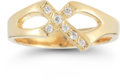 Christian Cross Diamond Ring in 14K Yellow Gold