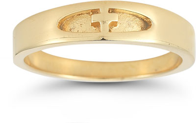 Women's Christian Cross Ring in 14K Yellow Gold