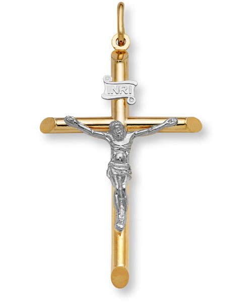 Gold Crucifix Pendant - 14K Two-Tone Gold