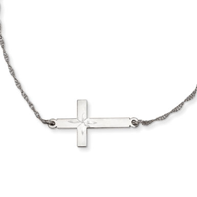 Sterling Silver Large Diamond Cut Sideways Cross Necklace