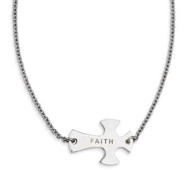 Stainless Steel Faith Sideways Cross Pendant