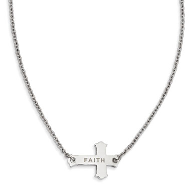 Stainless Steel Faith Small Sideways Cross Necklace