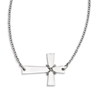 Stainless Steel Sideways Cross with Chain Detail Necklace