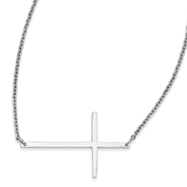 Stainless Steel Large Modern Sideways Cross Necklace