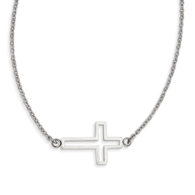 Stainless Steel Polished Cutout Sideway Cross Necklace