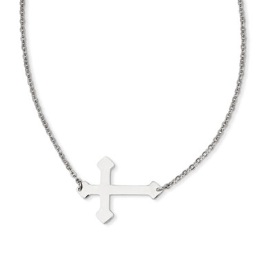 Stainless Steel Large Budded Sideways Cross Necklace