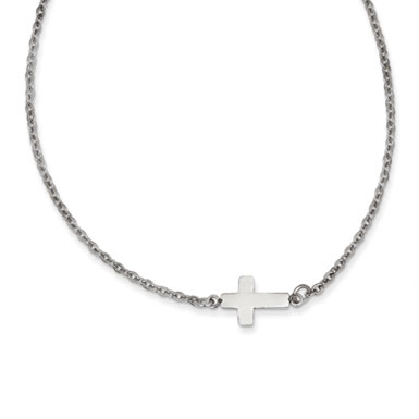 Stainless Steel Petite Polished Sideways Cross Necklace