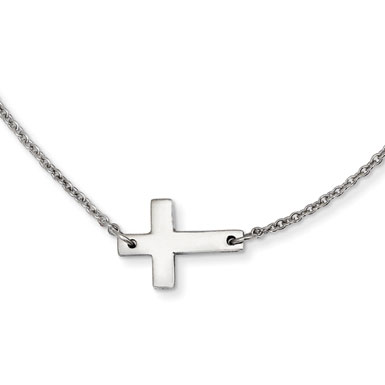 Stainless Steel Small Polished Sideways Cross Necklace