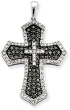 1.00 Carat Black and White Diamond Cross Pendant