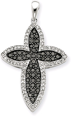 1.00 Carat Black and White Star Cross Pendant