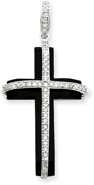 1/4 Carat Diamond and Onyx Cross Pendant
