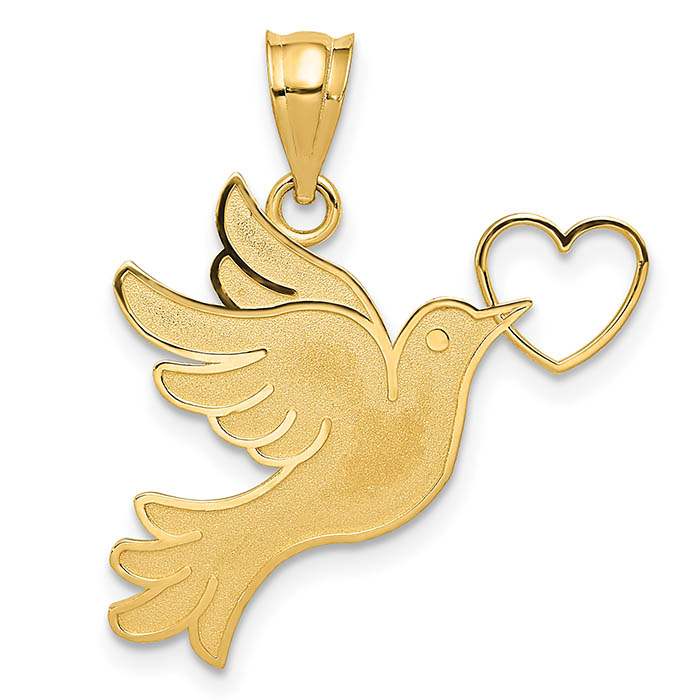 Dove with Heart Pendant, 14K Yellow Gold