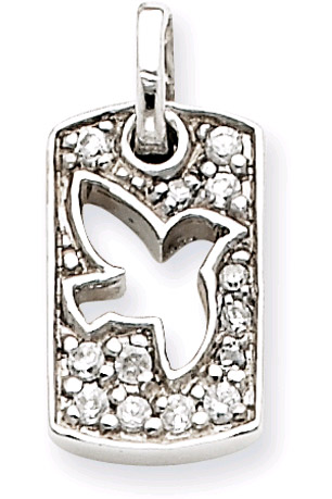 Sterling Silver Peace Dove Dog Tag Pendant