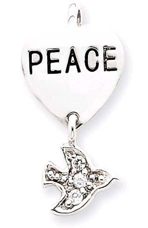 Sterling Silver Peace CZ Heart & Dove Pendant