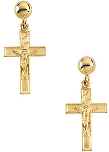 14K Yellow Gold Crucifix Earrings