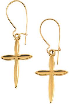 14K Yellow Gold Cross Earrings