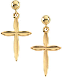 14K Yellow Gold Cross Drop Earrings