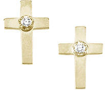 14K Yellow Gold Cross Earrings with Diamond Accents