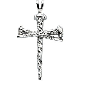 Nail Design Cross Pendant in 14K White Gold