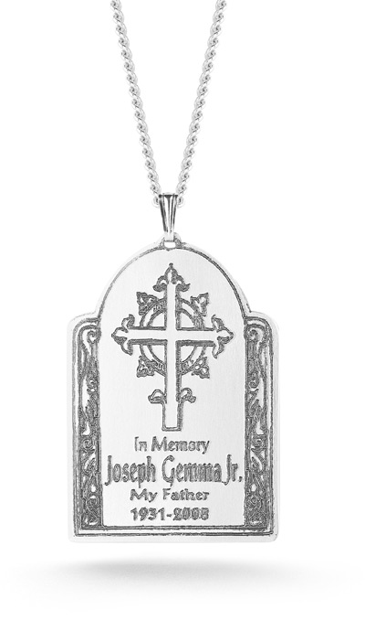 Ornate Cross Memorial Pendant in Sterling Silver