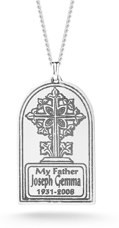 Tree of Life Memorial Cross Necklace in Sterling Silver