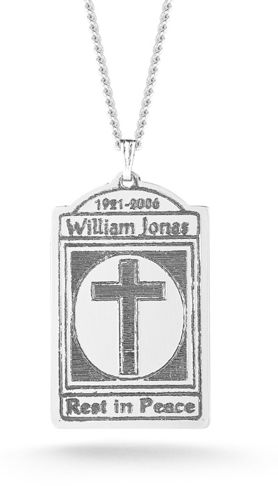 Memorial Dog Tag Cross Necklace in Sterling Silver