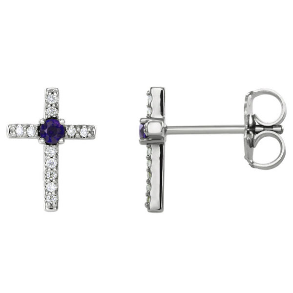 Amethyst and Diamond Cross Stud Earrings, 14K White Gold