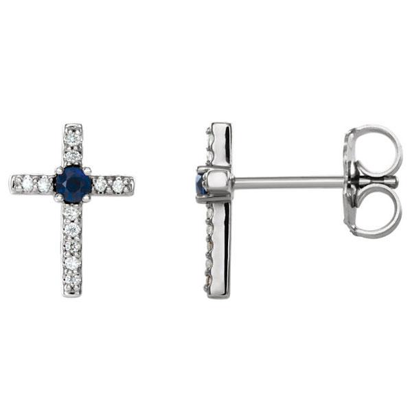 Blue Sapphire and Diamond Cross Earrings, 14K White Gold
