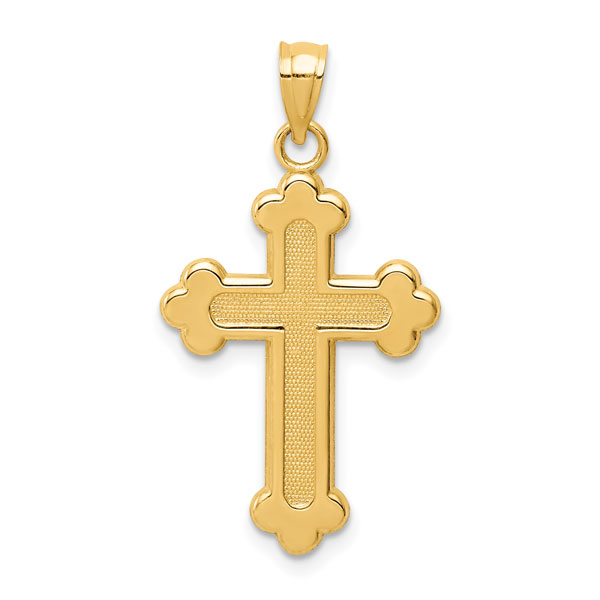 Budded Cross Pendant for Women, 14K Yellow Gold