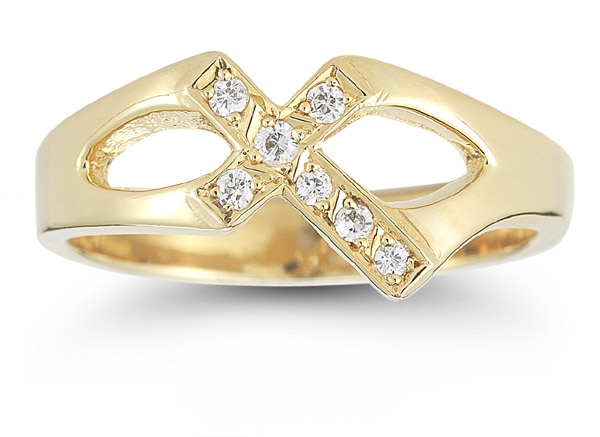 Christian Cross Cubic Zirconia Ring in 14K Yellow Gold