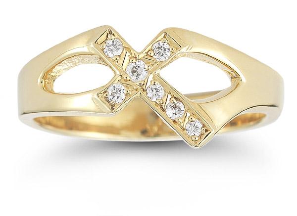 Christian Cross Diamond Ring in 14K Yellow Gold