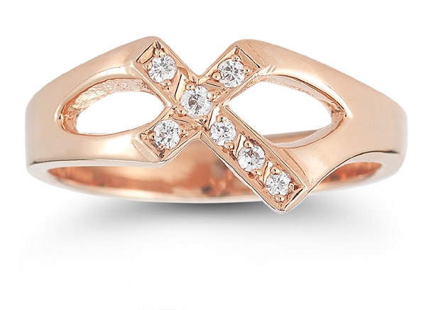 Christian Cross Diamond Ring in 14K Rose Gold