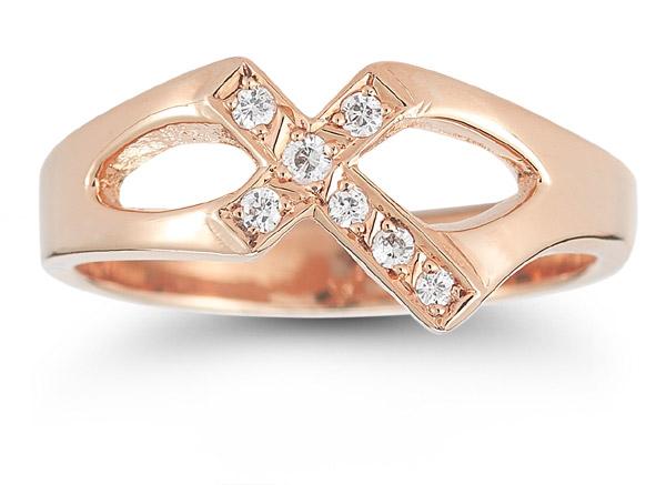 Christian Cross Diamond Ring in 14K Rose Gold