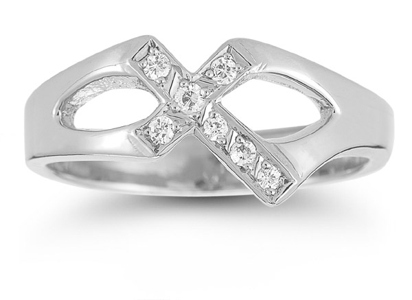 Christian Cross Cubic Zirconia Ring in 14K White Gold