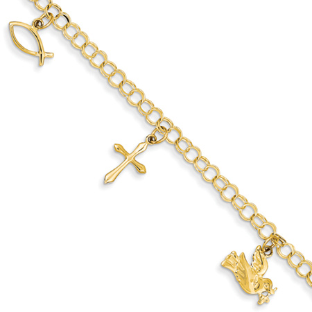 Christian Cross Ichthus Dove Bible & Jesus Charm Bracelet, 14K Gold