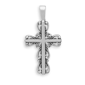 Christian Cross with Scroll Outline, Sterling Silver