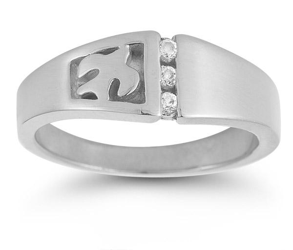 Christian Dove Diamond Trinity Ring in 14K White Gold