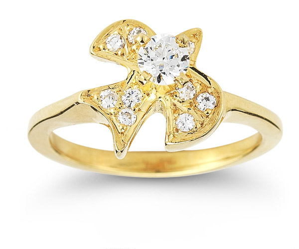 Christian Dove Diamond Ring in 14K Yellow Gold