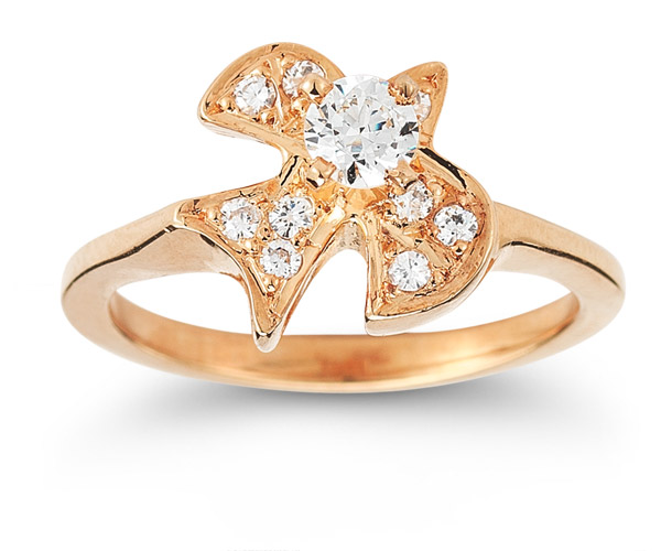 Christian Dove Diamond Ring in 14K Rose Gold