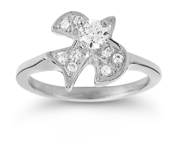 Christian Dove CZ Ring in 14K White Gold