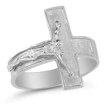 Crucifix Ring in 14K White Gold